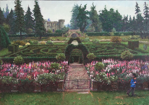 "Garden with Soldier. 2005. Oil on Linen. 12"" x 20"""