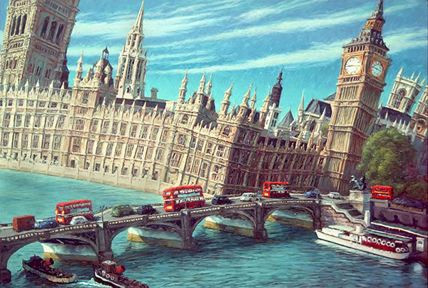 "The Houses of Parliament. 1986. Oil on Canvas. 32"" x 48"" Private Collection"