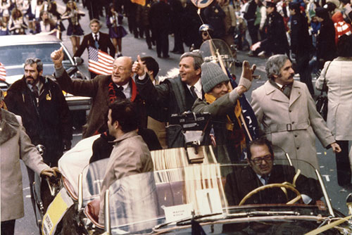 Moorhead Kennedy (on right) with Mayor Ed Koch - New York Ticker Tape Parade (1981) (Courtesy of Moorhead Kennedy)